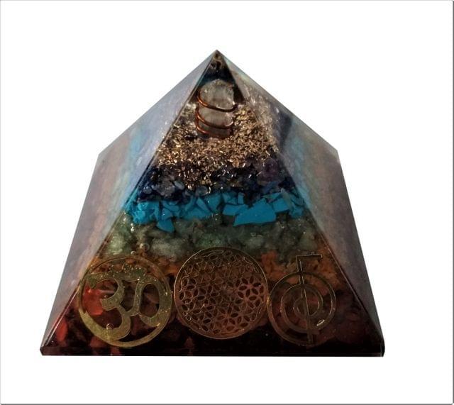 Purpledip Seven Chakra Pyramid with Reiki Symbols: Energy Field Of Amethyst, Lapis Lazuli, Green Aventurine, Camel Color Agate, Jasper Red, Red Cornelion & Copper (11513)