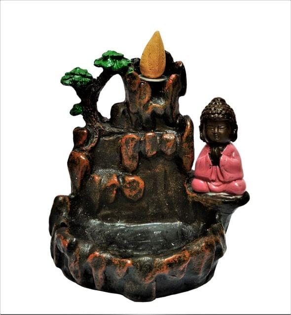 Purpledip Laughing Buddha Backflow Dhoop Incense Burner Fog Fountain With 10 Free Cones (11520B)