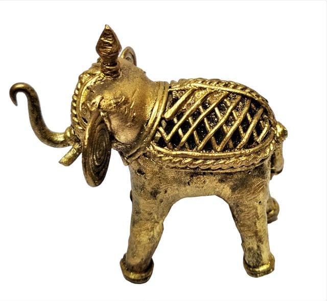 Purpledip Brass Dhokra Art Elephant Vintage Statue; FengShui Vastu Significance Gift Showpiece (11533)
