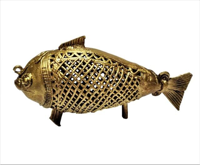 Purpledip Brass Dhokra Art Fish Vintage Statue; FengShui Vastu Significance Gift Showpiece (11534)