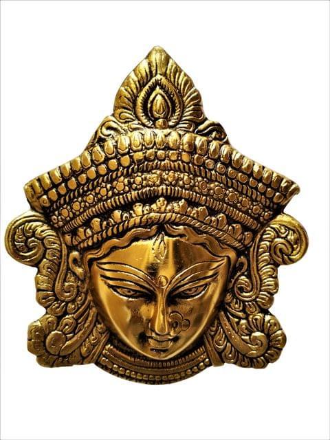 Purpledip Metal Statue Goddess Durga: Wall Hanging Face Mask in Golden Finish (11539)