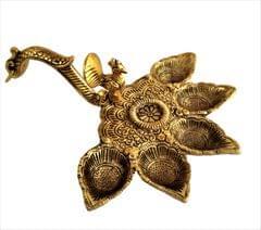 Purpledip Metal Oil Lamp '5 Batti Deepam': Antique Handheld Diya for Mandir Aarti Puja (11544)