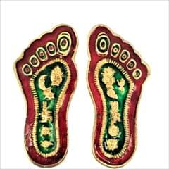 Purpledip Metal Padukas/Charan: Impression Of God's Footprints In Solid Metal with Meenakari (11546)