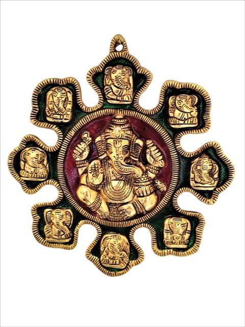 Purpledip Metal Statue Ashta-vinayak (8 Avatars of Ganesha):  Magnificent Wall Hanging Plaque (11547)