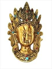 Purpledip Metal Face Mask Goddess Tara: Buddhist Goddess Wall Plaque (11548)