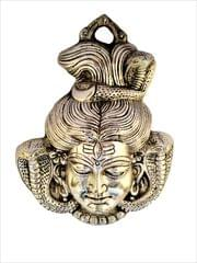 Purpledip Metal Statue Lord Shiva: Silver Finish Wall Hanging for Doors, Entrance, Temple, Walls (11550)