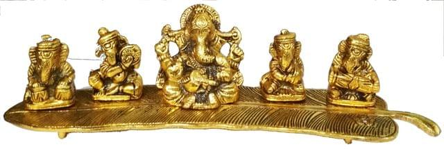 Purpledip Metal Idol Ganesha on Banana Leaf: Set of 5 Ganeshas Playing Divine Music (11551)