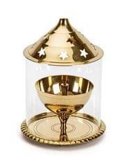 Purpledip Brass Oil Lamp Akhand Jyoti: Long Lasting Festival Deepam Decor Gift (11555)