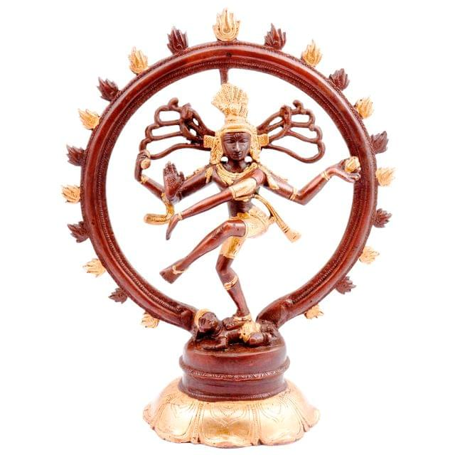 Purpledip Brass Nataraja Idol: Glorious Dancing Siva Statue in Antique Gold-Copper Design (11448)