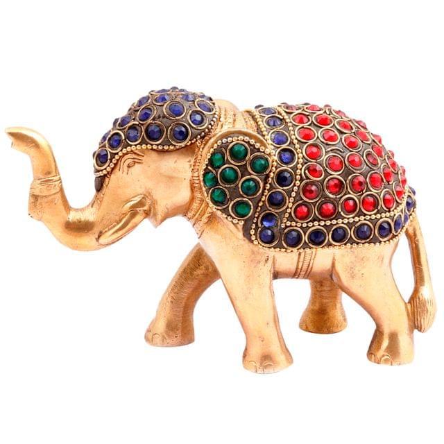 Purpledip Brass Idol 'Airaavat, The Divine Elephant': Rare Statue with Glittering Gemstones; Feng Shui Vastu Good Luck Charm (11451)