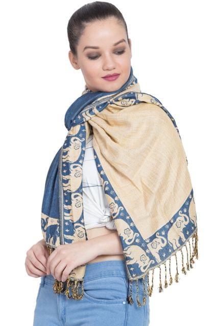 Purpledip Woolen Stole 'Asia Tales': Jamavar Style Faux Pashmina Shawl (20011)