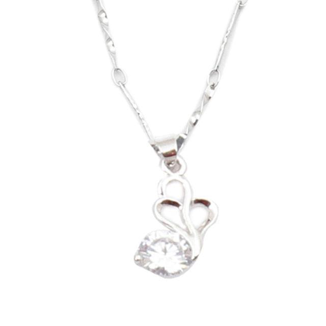 Purpledip Women's Necklace 'Swan Heart': Fashion Locket Pendant with Glittering Stone (30137)
