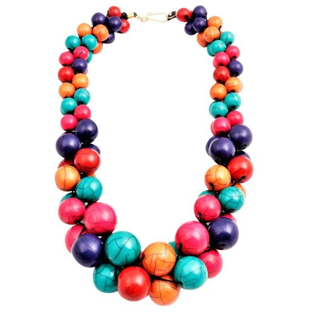 Purpledip Funky Necklace 'Magic Pops': Chunky Beads Chain for Casual Party Wear  (30141)
