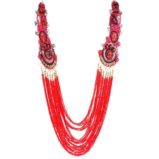 Purpledip Fashion Necklace 'Regal Red' with Beads & Colorful Sequined Edges: Unique Statement Piece (30143)
