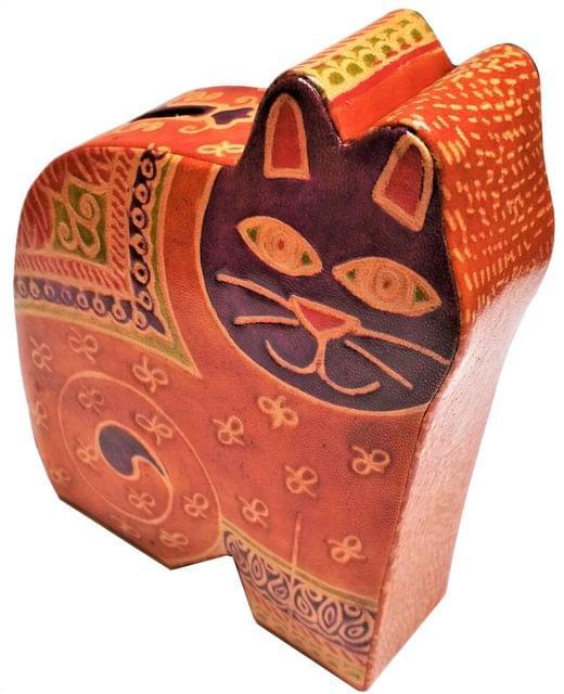 Leather Money Bank Coin Box 'Jungle Cat': Cruelty Free Shantiniketan Leather Piggy Bank (11557)