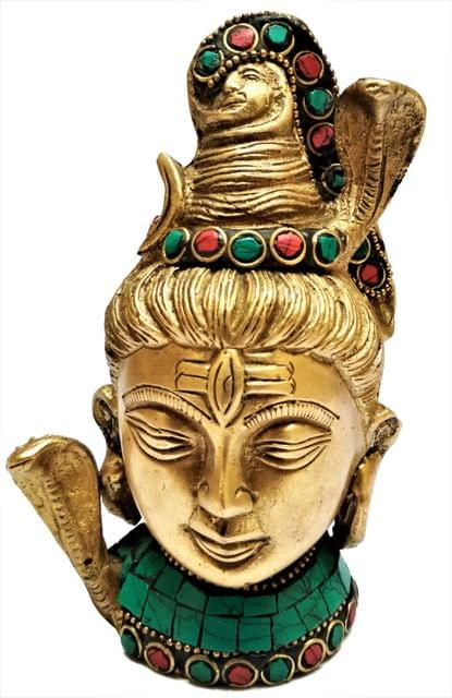Brass Idol Lord Shiva:  Mahadev Idol with Colorful Gemstones (11562)