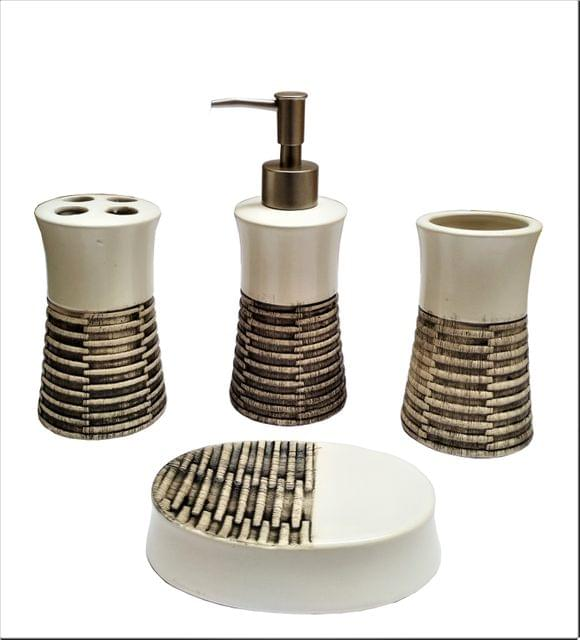 Ceramic Bathroom 4-piece Set 'Royal Collection': Soap Dish, Liquid Dispenser, Glass, Toothbrush Holder (11563A)