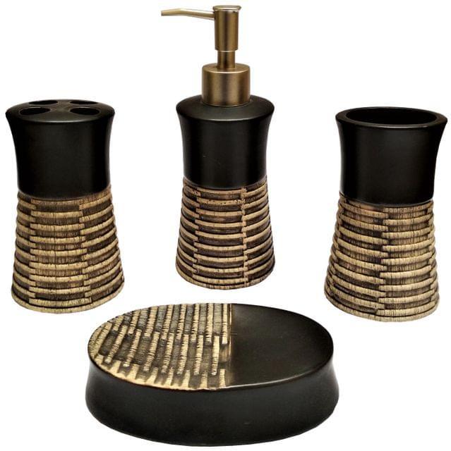 Ceramic Bathroom 4-piece Set 'Royal Collection': Soap Dish, Liquid Dispenser, Glass, Toothbrush Holder (11563B)