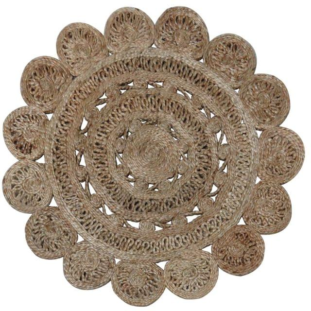 Jute Mat:  Circular Floor Bathroom Rug, Doormat or Wall Hanging (11564)