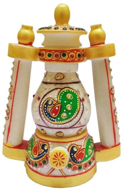 Marble Lantern: Hand Carved & Painted Decorative Electrical Lamp (11567)