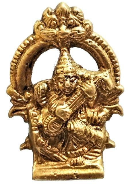 Brass Idol Saraswathi: Hindu Goddess Of Knowledge, Music & Art (11572)