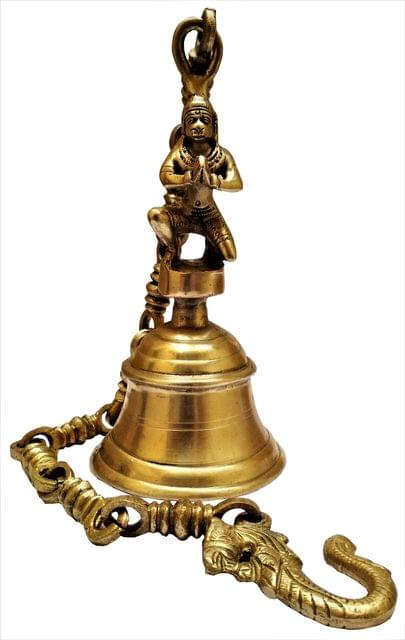 Brass Hanging Bell Lord Hanuman: Deep Resonating Sound (11579)