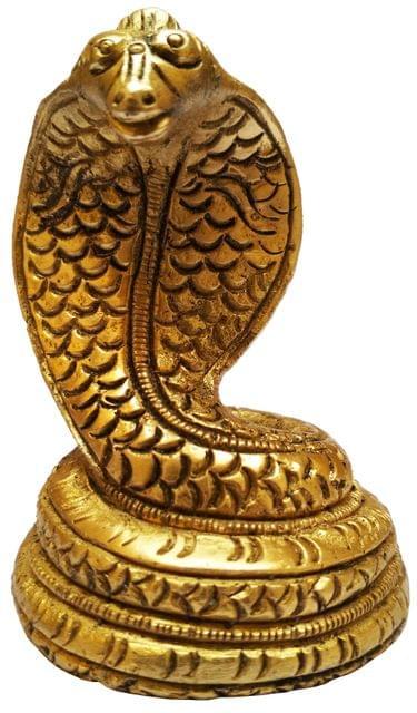 Brass Idol Nagaraj Vasuki: Serpent God on Shiva (11582)