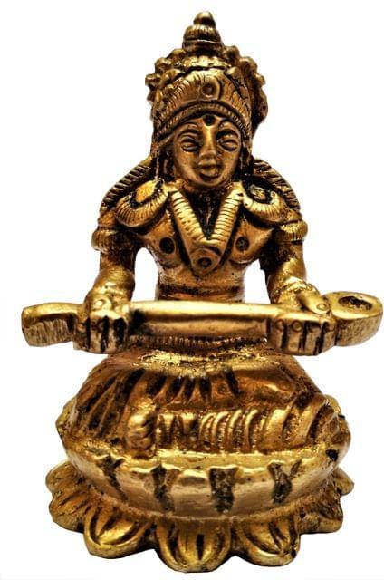 Brass Statue Devi Annapoorna: Hindu Goddess of Food & Nourishment (11583)