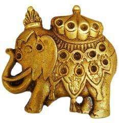 Purpledip Brass Knob 'Regal Elephant': Small Designer Pull Handle (11588)
