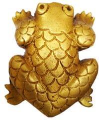 Purpledip Brass Knob 'Lucky Frog': Small Designer Pull Handle (11589)