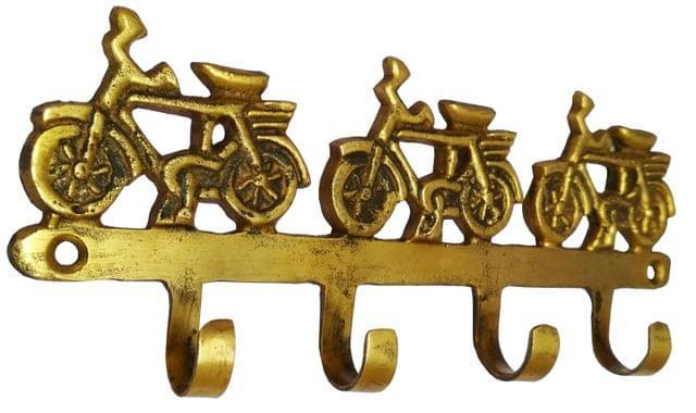 Purpledip Brass Wall Hook Hanger 'Cycles Galore': Vintage Design Wall decor Gift  (11591)