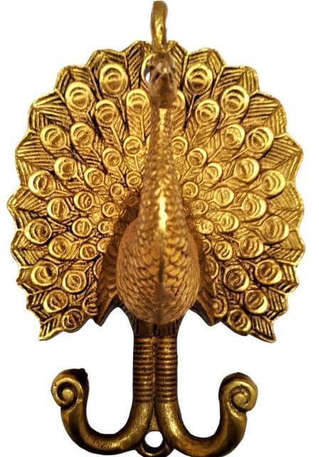 Brass Wall Hook Hanger 'Proud Peacock': Vintage Design Wall decor Gift  (11592)