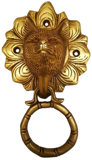 Brass Door Knocker: Antique Wild Wolf Design Gate Handle (11596)