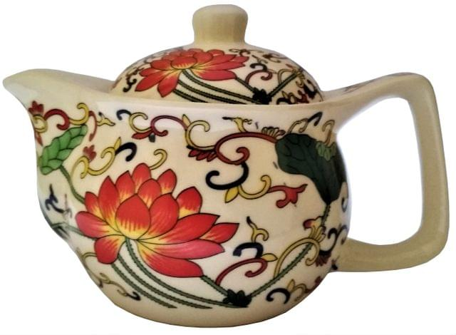 Painted Ceramic Kettle 'Forest Bloom': Small 350 ml Tea Coffee Pot, Steel Strainer Included (11606)
