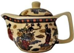 Painted Ceramic Kettle 'Orient Grace': Small 350 ml Tea Coffee Pot, Steel Strainer Included (11609)