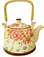 Ceramic Kettle 'Forest Bloom': 850 ml Tea Coffee Pot, Steel Strainer Included (11612)