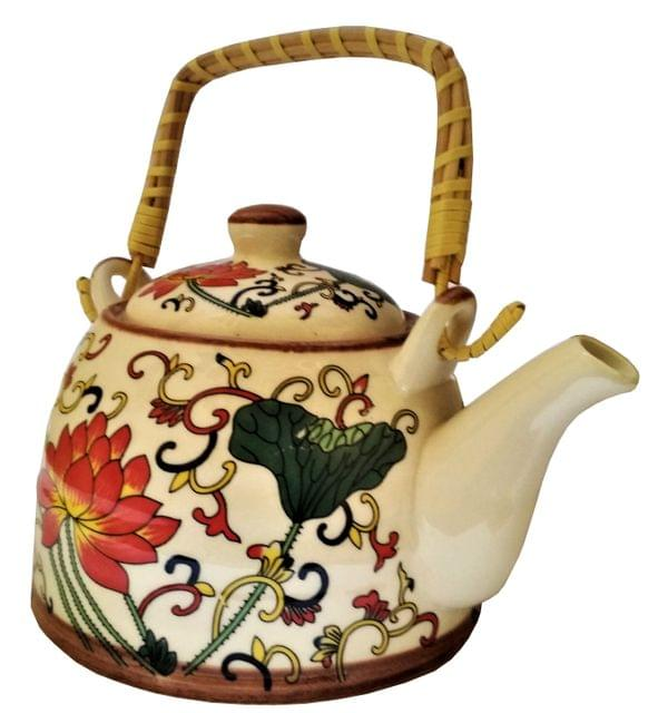 Ceramic Kettle 'Spring Garden': 500 ml Tea Coffee Pot, Steel Strainer Included (11617)