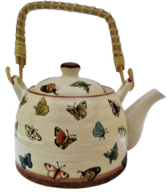 Ceramic Kettle 'Lively Butterflies': 850 ml Tea Coffee Pot, Steel Strainer Included (11621)