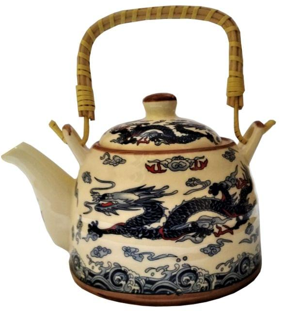Ceramic Kettle 'Holy Dragon': 500 ml Tea Coffee Pot, Steel Strainer Included (11623)
