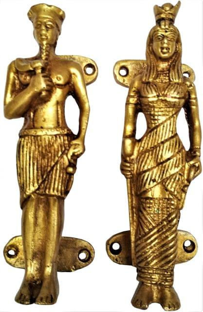 Brass Door/Window/Cupboard Handle Set : 'Egyptian Royalty' (11637)