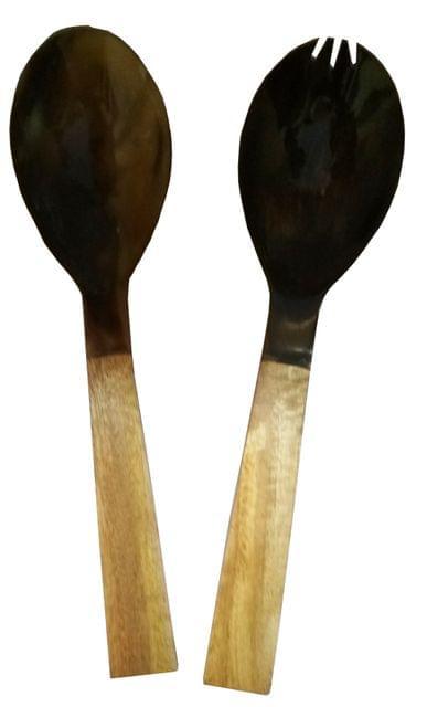 Purpledip Wood-Acrylic Salad Spoon & Fork Set: Handmade Serving Tableware in Vintage Design (11628)