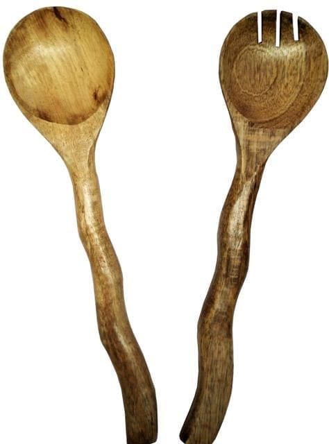 Purpledip Wooden Serving Spoon & Fork Set 'Windy Wood': Handmade Vintage Tableware or Kitchen Decorative Accent (11630)