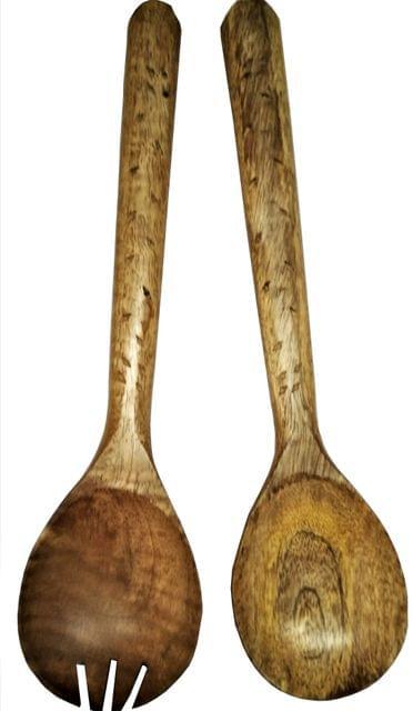 Purpledip Wooden Serving Spoon & Fork Set 'Bird Walk': Handmade Vintage Tableware or Kitchen Decorative Accent (11631)