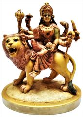 Purpledip Resin Idol Goddess Sherawali Durga: Stone Finish Statue for Home Temple (11640)