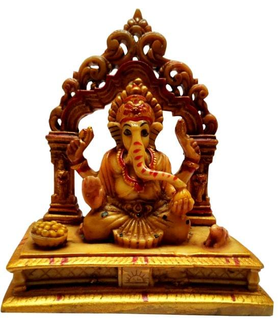 Purpledip Resin Idol Siddhi Vinayak Ganesha in Mandapam: Stone Finish Statue for Home Temple (11641)
