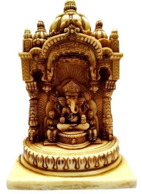 Purpledip Resin Idol Lord Ganesha with Siddhi & Biddhi in Temple: Stone Finish Statue (11644)
