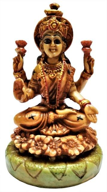 Purpledip Resin Idol Ma Lakshmi, Goddess of Wealth & Fortune: Stone Finish Statue for Home Temple (11647)