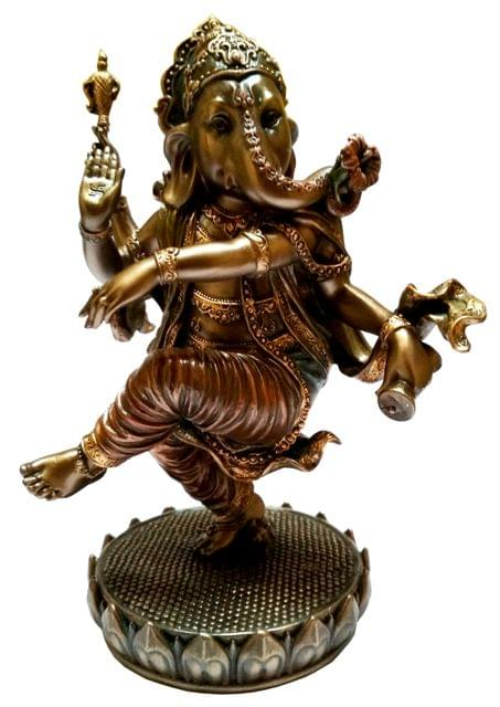 Purpledip Resin Idol Dancing Ganesha (Nritya Ganapathi): Home Temple Decor Gift (11651)