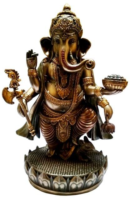Purpledip Resin Idol Ekakshara Ganesha with Modak, Noose, Hatchet & Tusk: Home Temple Decor Gift (11652)