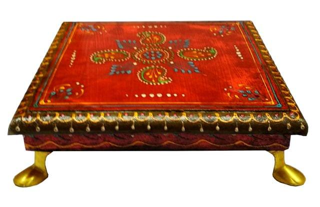 Purpledip Wooden Chowki: Hand-painted Platform for God Idols in Home Temple (11653)